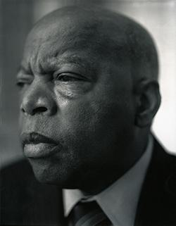 Black and white photo of the Honorable John Lewis.